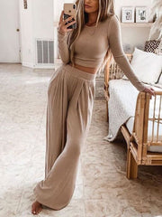 Fashion Wide Leg Round Neck Solid Color Suit