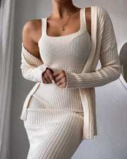 Women'S Solid Knit Maxi Dress & Long Sleeve Cardigan Suit