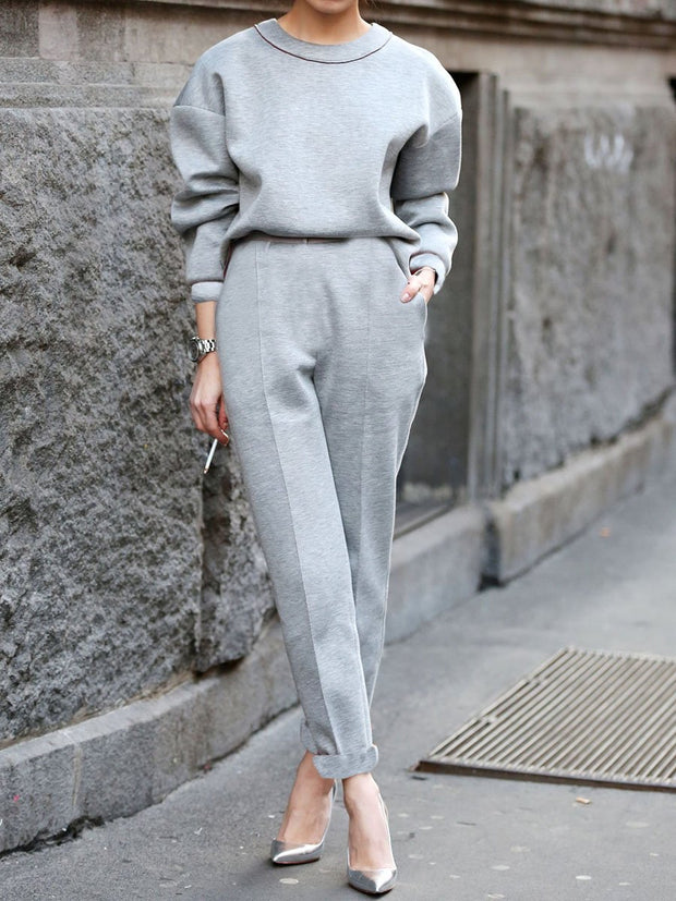 Women'S Simple Fashion Loose Round Neck Long Sleeve Top Pants Suit