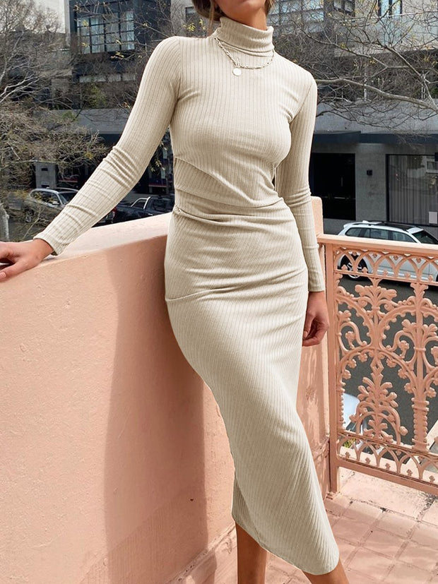 Women'S Fashion Casual Solid Color High Neck Long Sleeve Dress