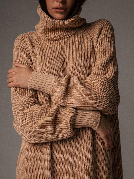 Women's Solid Color Turtleneck Casual Sweater Dress