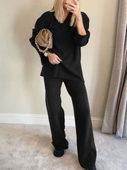 Women'S Fashion Casual Knitted Long Sleeve Lapel Loose Two-Piece Suit
