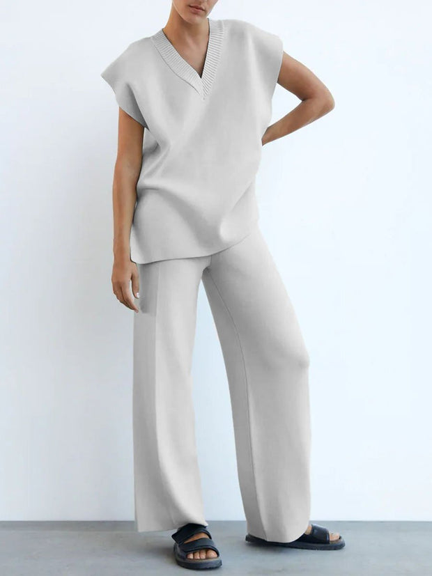 Simple V-Neck Sleeveless Top Trousers Loose Casual Suit