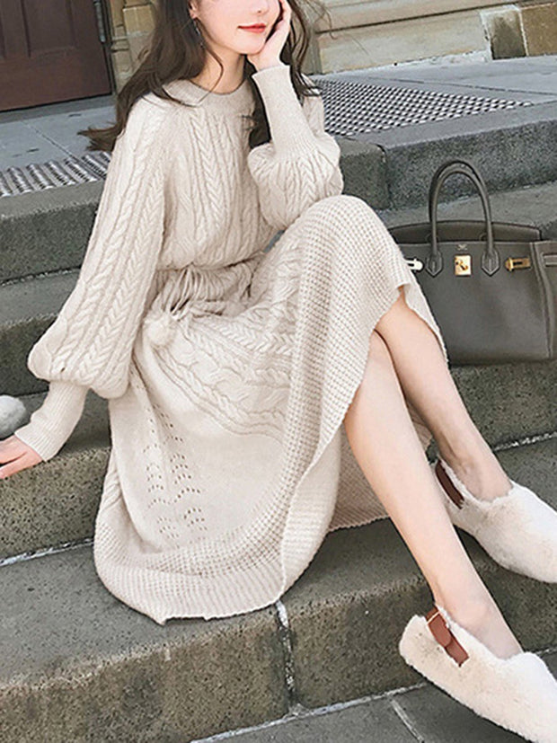 Women'S Round Neck Lace Solid Color Ladies Sweater Midi Dress