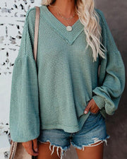 Women'S V-Neck Sweater Lantern Sleeve Top Sweater