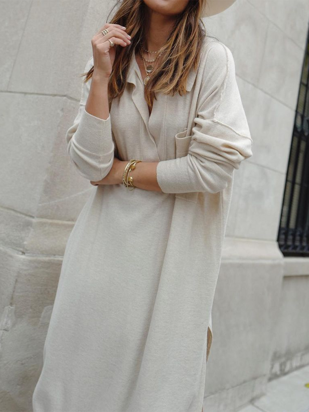 Women'S Fashion Solid Color V-Neck Loose Knit Casual Midi Dress