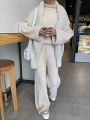Women'S Fashion Loose High Neck Knitted Casual Two-Piece Suit