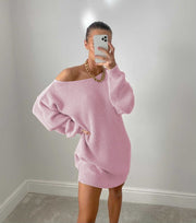 Women'S Casual Off-Shoulder Lantern Sleeve Knitted Sweater Dress