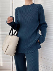 Women'S Casual Knitting Pullover&Wide-Leg Pants Suits