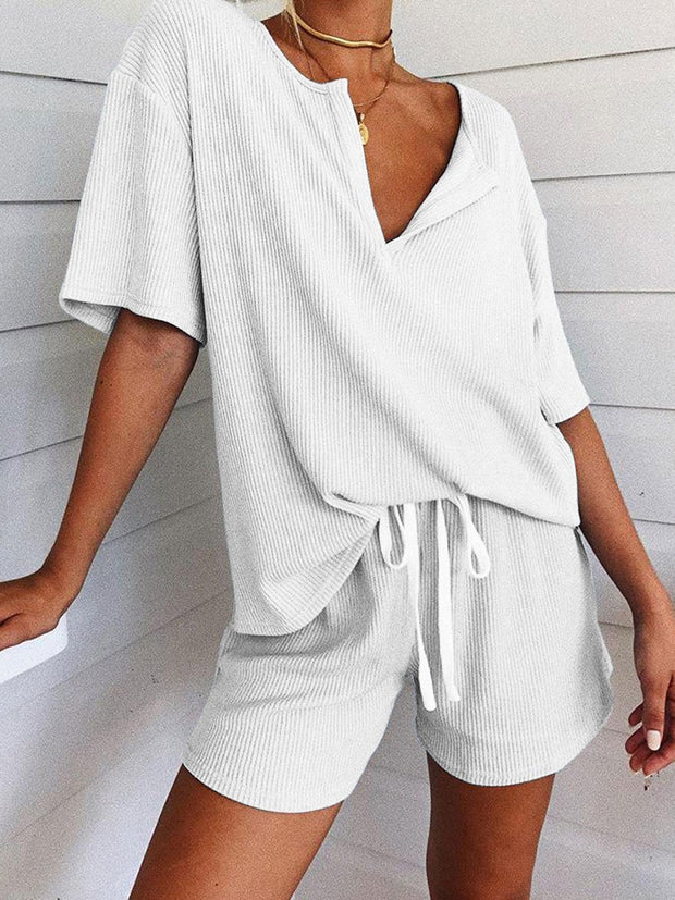 Casual Loose V-neck Short Sleeve Suit