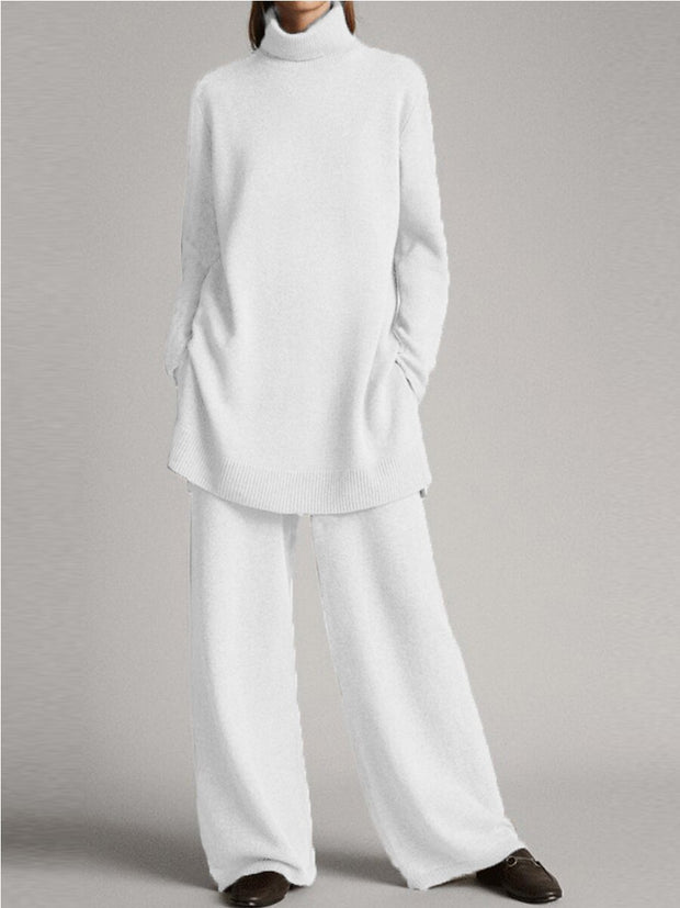 Women'S Fashionable Simple Casual Loose Turtleneck Top Pants Knitted Suit