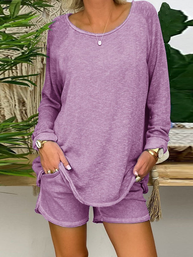 Simple Casual Loose Long Sleeve Shirt Shorts Suit