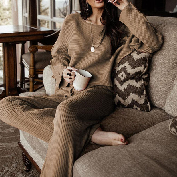Women'S Baggy Sweet Plain Round Neck Long Sleeve Sweater Lounge Suit