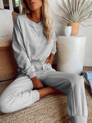 Woman Simple Casual Loose Long Sleeved Top Pants Sets