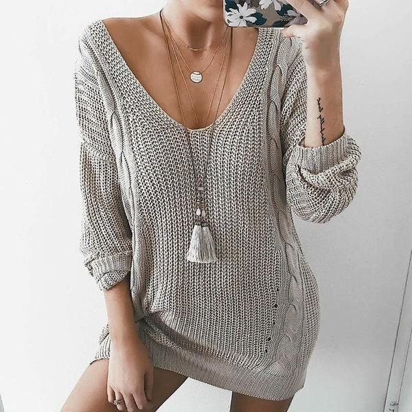 Women'S Fashion V-Neck Cable Knit Loose Oversized Sweater Midi Dress