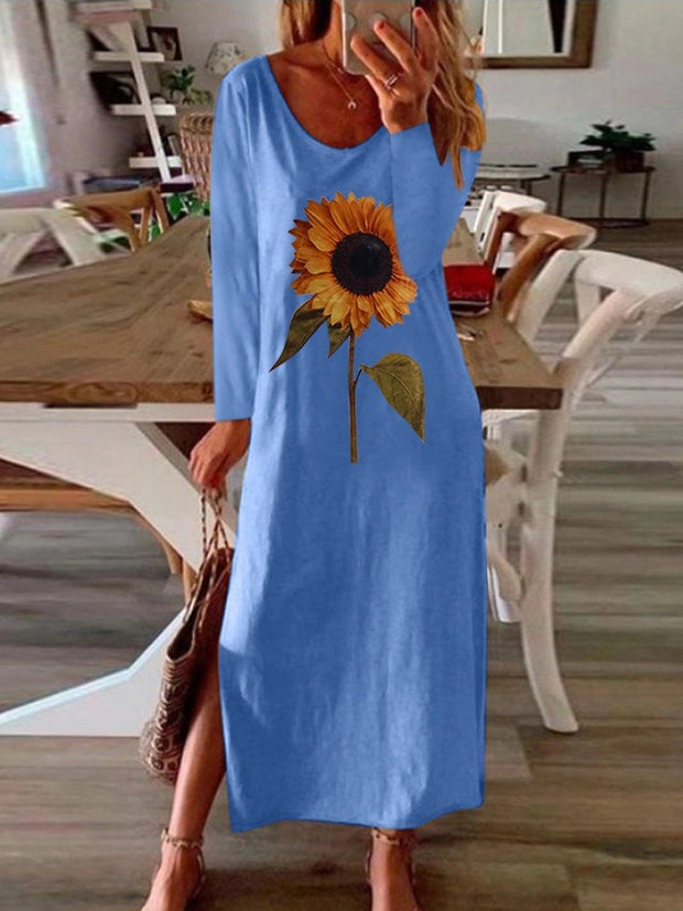Women'S Casual Sunflower Print Loose Split Dress