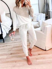 Women's Fashion Round Neck Stitching Printing Long Sleeve Two-piece Suit
