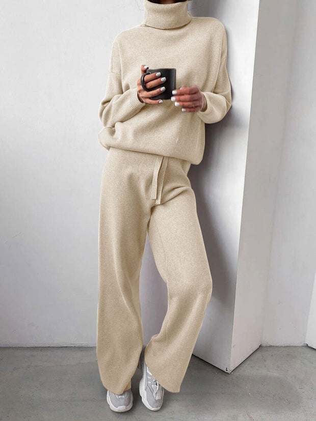 Women'S Casual High Neck Long Sleeve Sweater Suit