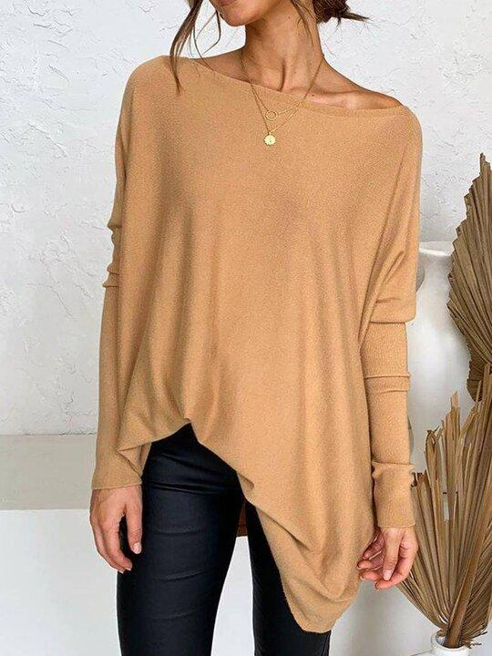 Women' s Round Neck Long Sleeve Casual Knitted T-shirt