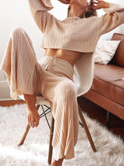 Women'S Fashion Casual Loose Top Knitted Suit