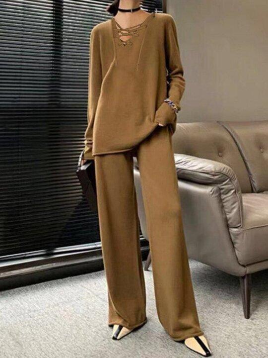 Women'S  V-Neck Cross Tie Long Sleeve Knitted Two-Piece Suit