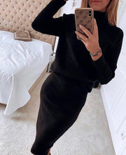 Women'S Fashion Warm Solid Color Sweater Suit