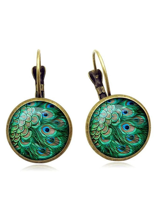 Vintage Peacock Feathers Pattern Earring Bohemian Bronze Time Gem Cabochon Dangle Earring