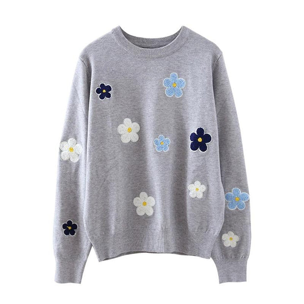 Women'S Embroidered O-Neck Knitted Pullover Sweater