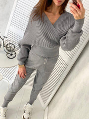 Women's Autumn and Winter Sexy V-Neck Cross Sweatshirt Two Piece Set