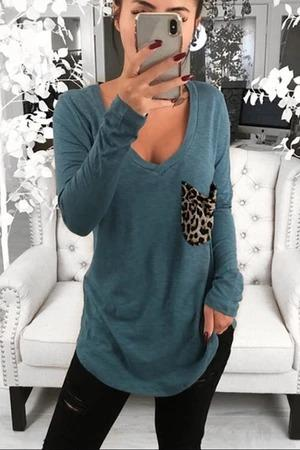 Woman Pure Color V-Neck Long Sleeve Tops