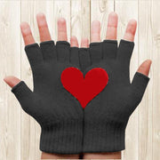 Women'S Warm And Cold Thick Love Printing Half Finger Gloves