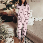 Women'S Casual Heart Line Printing Long-Sleeved Trousers Home Suit