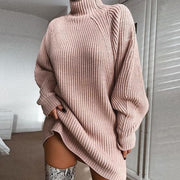 Woman knitted mid-length raglan sleeve half high collar mini dress