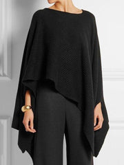 Women's Asymmetric Round Neck Knitted Cape Top