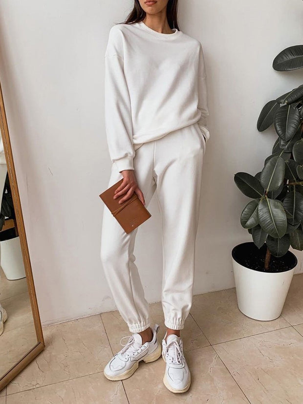Women'S Fashion Round Neck Solid Color Casual Two-Piece Suit