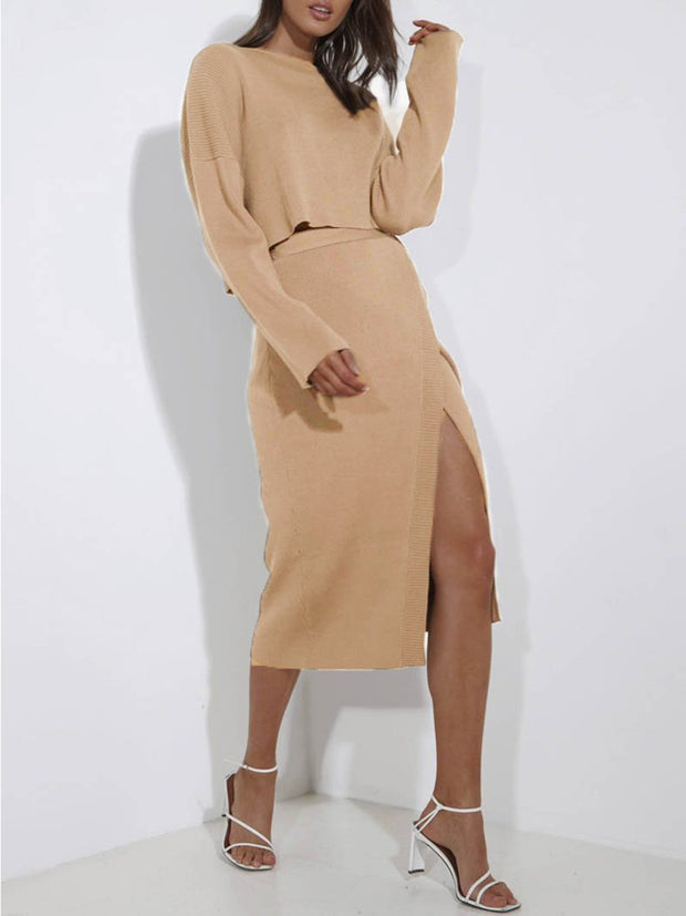 Women'S Fashion Loose Long Sleeved Top And Skirt Knit Suit