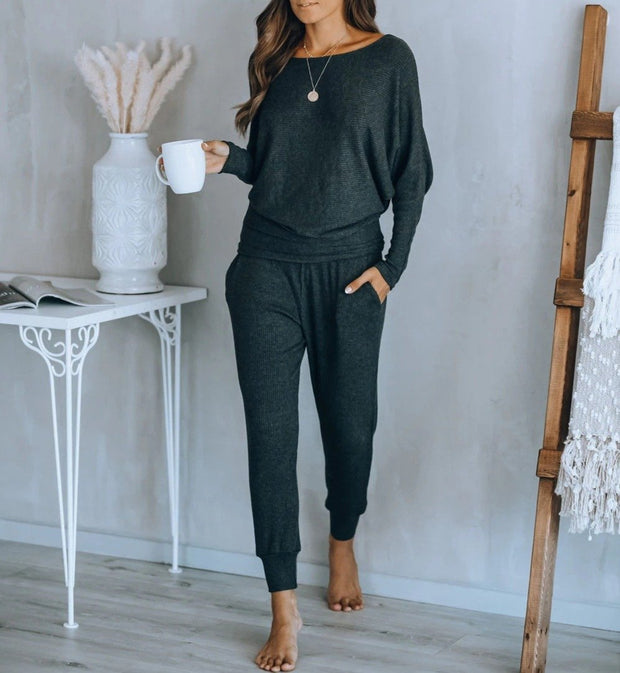 Women'S Halloween Round Neck Long-Sleeved Trousers Solid Color Casual Sportswear