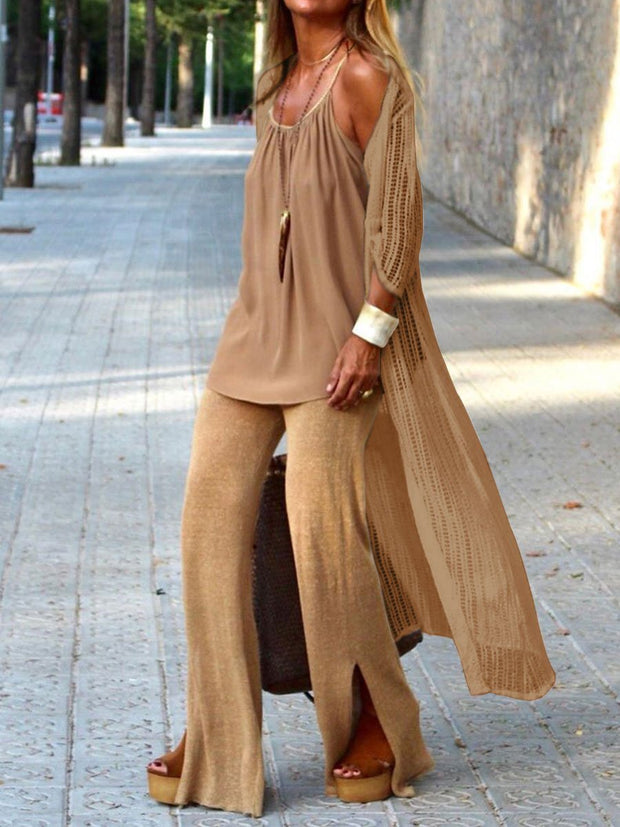 Women'S Solid Color Loose Three-Piece Suit