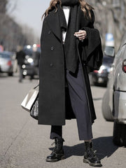 Women'S  Long Casual Fashion Coat Solid Color Single Breasted Coat