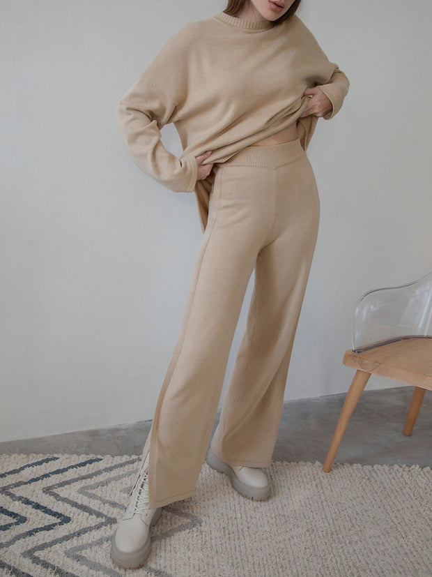 Women'S Knitted Slit Thick Autumn And Winter Women'S Suit