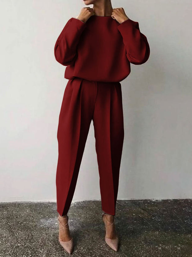 Woman's Casual Solid Color Round Neck Warm Suit
