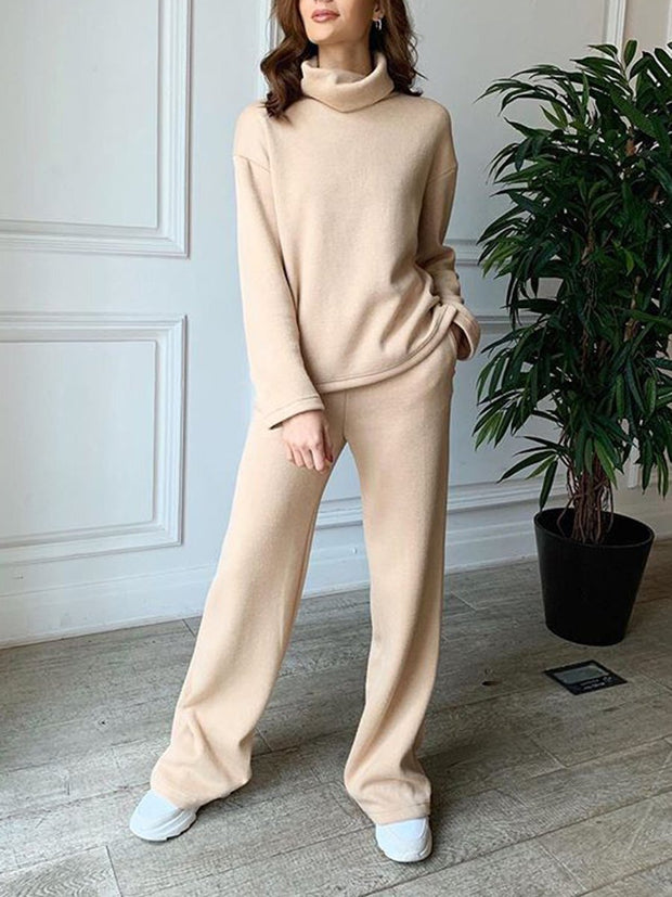 Women'S Fashion Pure Color High Collar Casual Two-Piece Suitt
