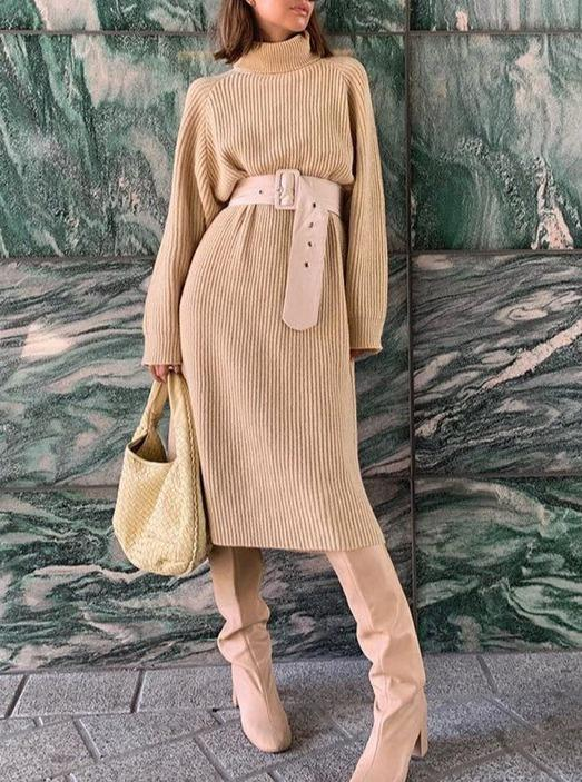 Women'S Fashion Long Sleeve Solid Color Midi Dress