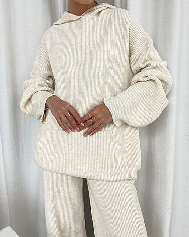 Women'S Fashion Solid Color Sweater Suit