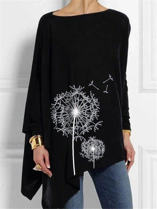 Women's  Printed Irregular Long-sleeved Casual T-shirt