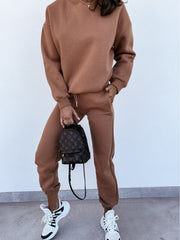 Fashion Casual Long Sleeve Round Neck Solid Color Two-Piece Suit