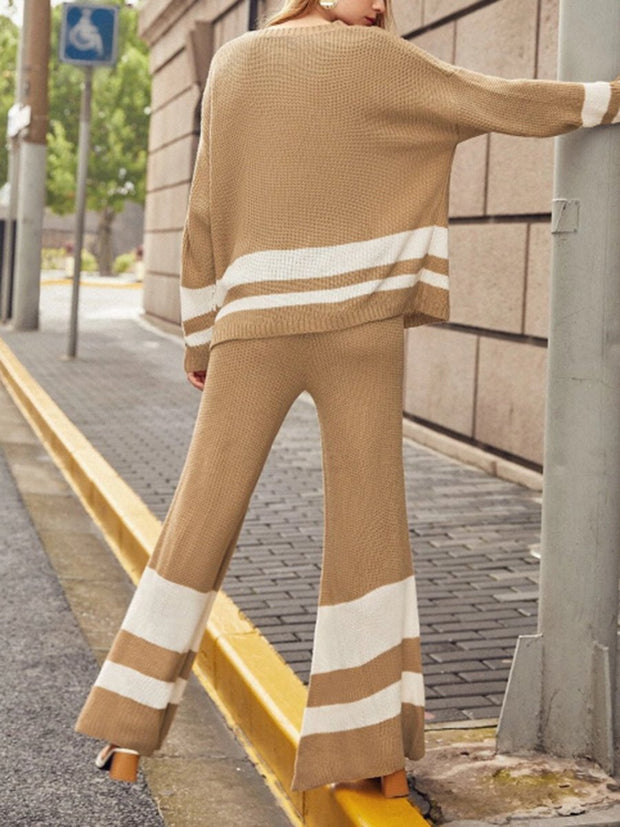 Women'S Round Neck Knitted Striped Color Matching Suit