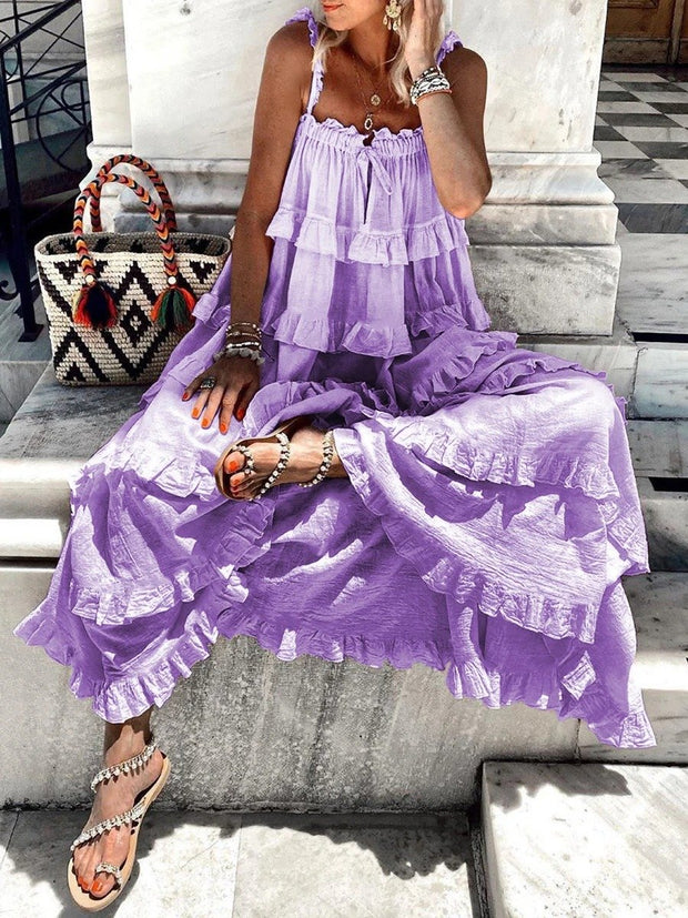 Woman's Bohemian Solid Color Fungus Strap Dress