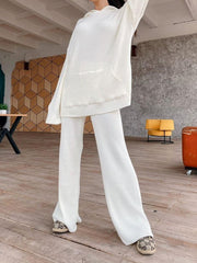 Women'S Fashion Knitted Hoodie Wide Leg Pants Suit