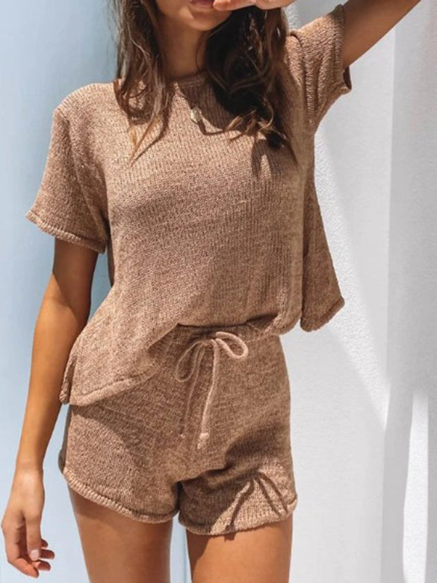 Casual Round Neck Solid Color Basic Two-piece Set
